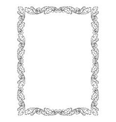oak leaf frame black silhouette vector image