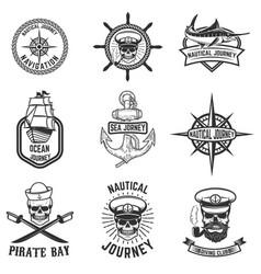 set of nautical emblems design elements for logo vector image vector image