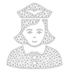 Airline stewardess polygonal frame mesh vector