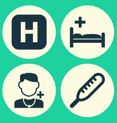 Antibiotic icons set collection physician vector