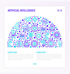 artificial intelligence concept in half circle vector image