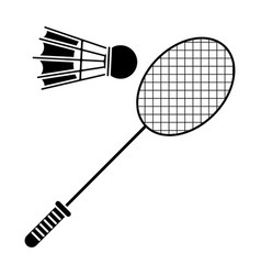 Badminton racket shuttlecock sport pictogram vector