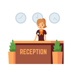 Bank office or hotel reception with receptionist vector