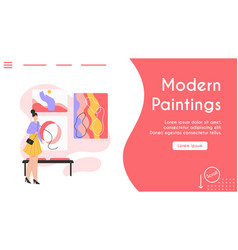 Banner modern paintings concept vector