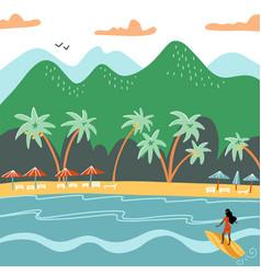 beach summer landscape tourist sunbeds on the vector image
