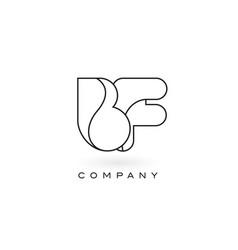 Bf monogram letter logo with thin black monogram vector