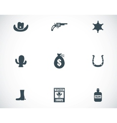 black wild west icons set vector image