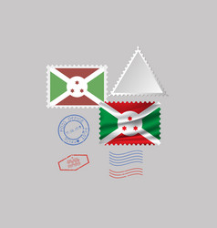 Burundi flag postage stamp set isolated on gray vector