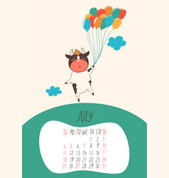 Calendar for july 2021 cute bull holds balloons vector