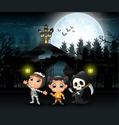 Cartoon of kids wearing halloween costume with a b vector