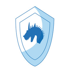 Cartoon shield dragon ancient war symbol vector