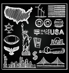 chalkboard collection icons united states vector image