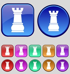 Chess Rook icon sign A set of twelve vintage vector image