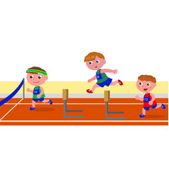 Children running obstacle race vector