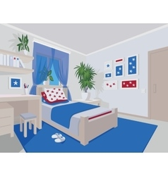 Colorful interior of bedroom in flat cartoon style vector