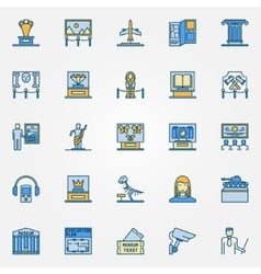 Colorful museum icons vector