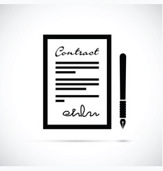 contract and pen icon vector image