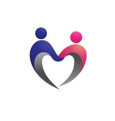 Couple shape love logo vector