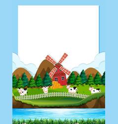 Cow farm border template vector