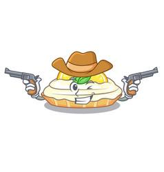 Cowboy cartoon lemon cake with sugar powder vector