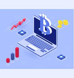 cryptocoin mining farm concept vector image