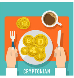 cryptonian concept breakfast of golden coin vector image