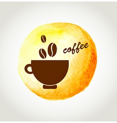 Cup of coffee on a yellow watercolor background vector