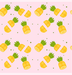 cut pineapple pink pattern background image vector image