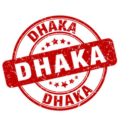 Dhaka red grunge round vintage rubber stamp vector