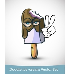Doodle ice-cream with hand isolated on white vector