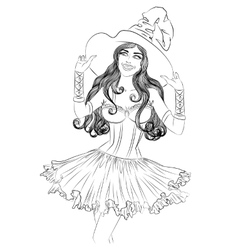 Drawing of young sexy witch in a hat vector