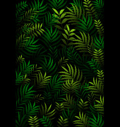 Exotic pattern with tropical leaves on a black bac vector
