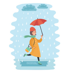 Fall girl walking in the rain vector