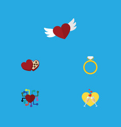 Flat icon passion set of celebration engagement vector