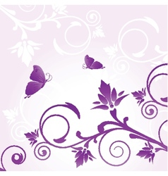 Floral card with butterfly vector