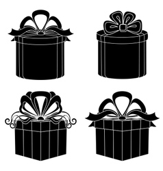 Gift box silhouette set vector image