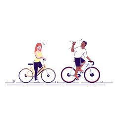 Girl boy on bicycles flat young people friends vector