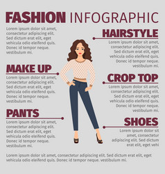 Girl in spring clothes fashion infographic vector