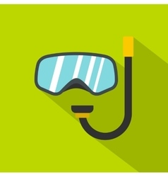 Goggles and tube for diving icon flat style vector