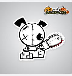 Halloween evil dog voodoo doll pop art comic vector