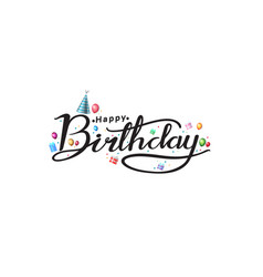 Happy birthday typography design with colorful vector