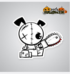 Helloween evil dog voodoo doll pop art comic vector