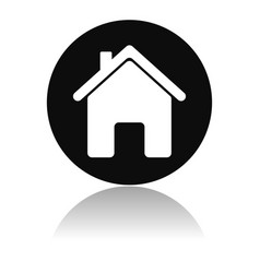 Home icon round black icon of a resedential house vector