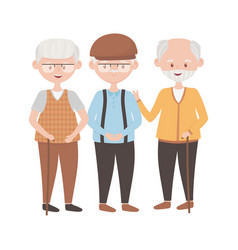 Isolated grandfathers avatars design vector