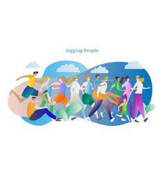 jogging people outside fitnes vector image