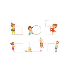 kids holding blank banners collection happy vector image