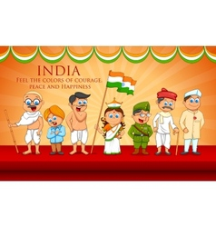Kids in fancy dress of Indian freedom fighter vector