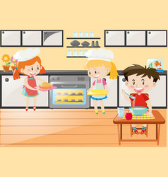 Kitchen scene with girls baking and boy eating vector
