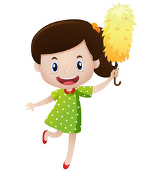 little girl with duster vector image