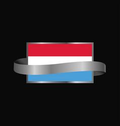 Luxembourg flag ribbon banner design vector